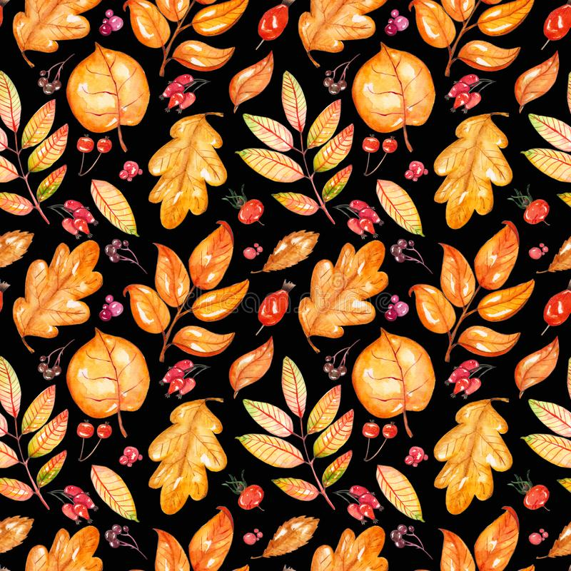 Hand painted watercolor autumn leaves seamless pattern. It is suitable for thanksgiving cards or wrapping paper, halloween design, recipe or menu, background vector illustration