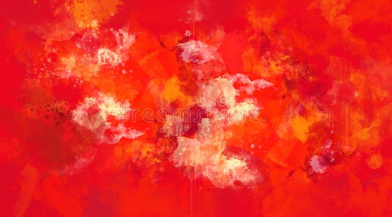 Abstract red and orange watercolor background stock illustration