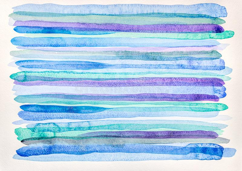 Hand painted watercolor background with colorful strips. Hand painted watercolor background with multicolored strips on white paper royalty free stock images