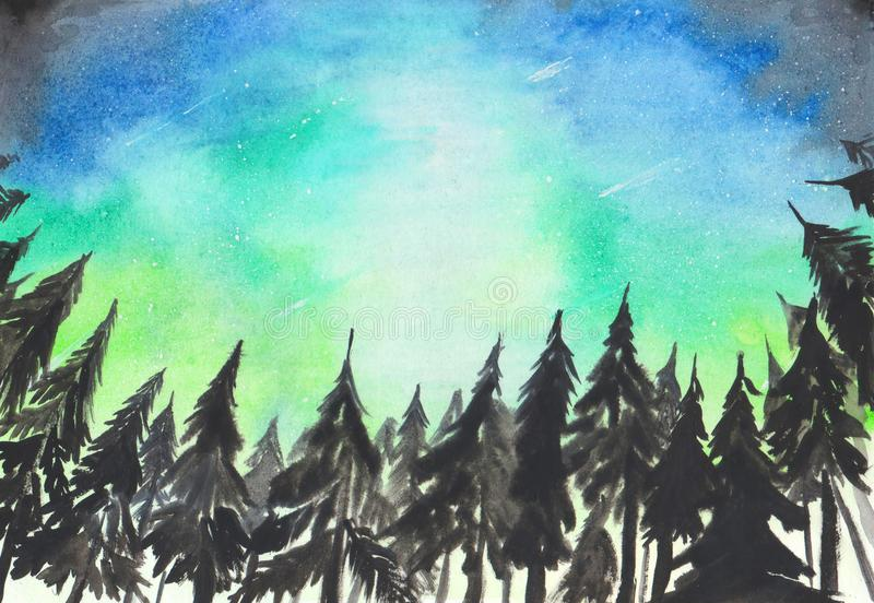 Hand painted watercolor background. Landscape with aurora polaris lights. Dark spruce trees silhouettes on starry sky background. Decorative texture for design vector illustration