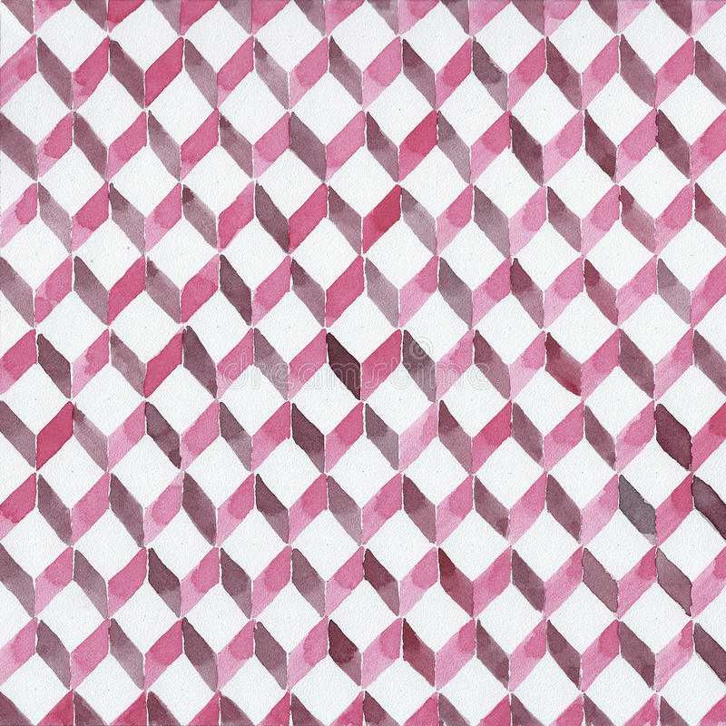 Hand painted watercolor background. Pink watercolor rhombic abstract geometric background vector illustration