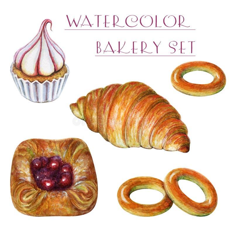 Hand painted watercolor bakery set. Watercolor cupcake, bagels, croissant, bun. Delicious food illustration. Watercolor royalty free illustration