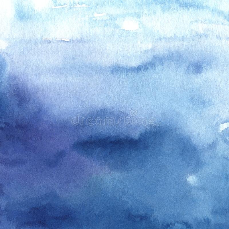Hand painted watercolor blue background royalty free illustration