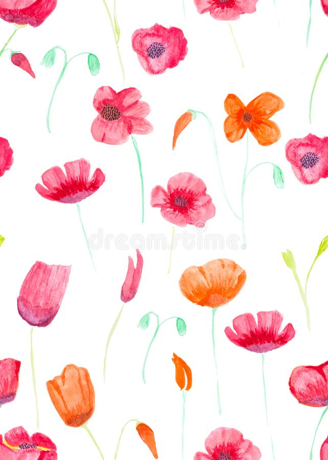 Hand painted with watercolor brush seamless pattern with red and vector illustration