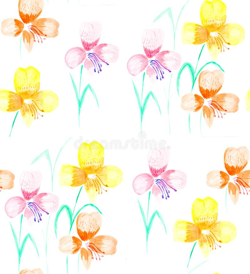 Hand painted with watercolor brush seamless pattern with red and royalty free illustration