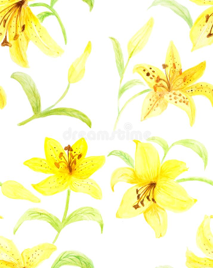 Hand painted with watercolor brush seamless pattern with yellow royalty free stock photos