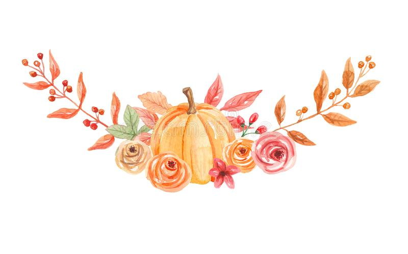 Watercolor Pumpkins Arch Flowers Hand Painted Fall Autumn Bouquet stock illustration