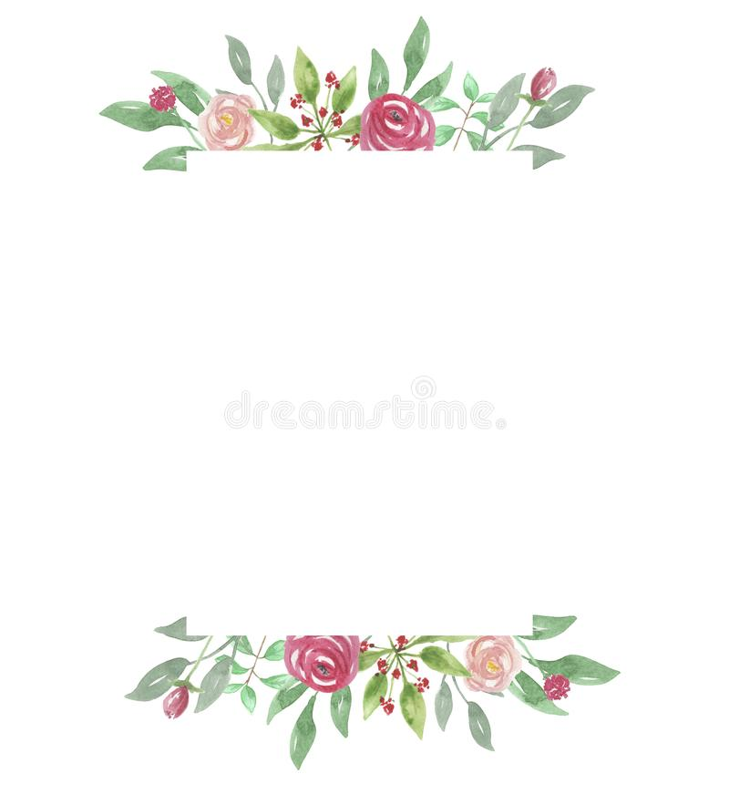 Watercolour Red Rose Frame Wedding Flower Hand Painted Border Stock ...