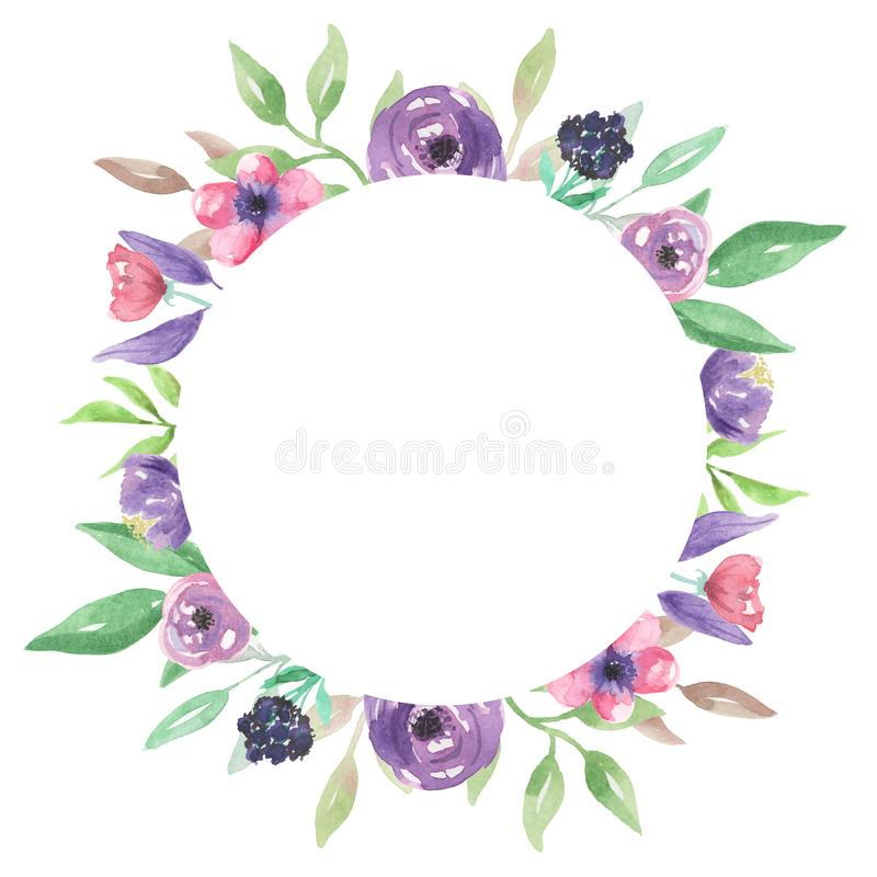 Watercolour Pink Purple Circle Flower Frame Hand Painted Summer ...