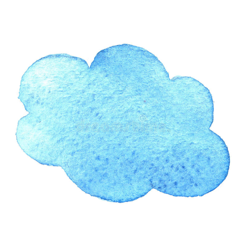 Hand painted watercolor cloud isolated on white. Blue backround. stock illustration