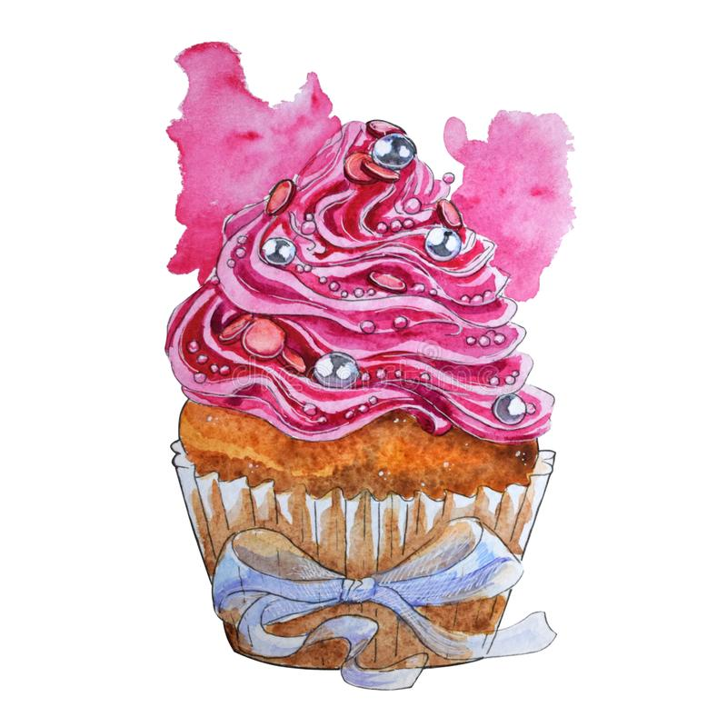 Hand painted watercolor cupcake isolated on white background stock illustration