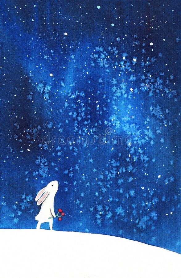 Free Hand Painted Watercolor Cute White Bunny Looking At Starry Afternoon Sky. Rabbits, Stars, Northern Lights. Cute Baby Illustration Royalty Free Stock Images - 166125349