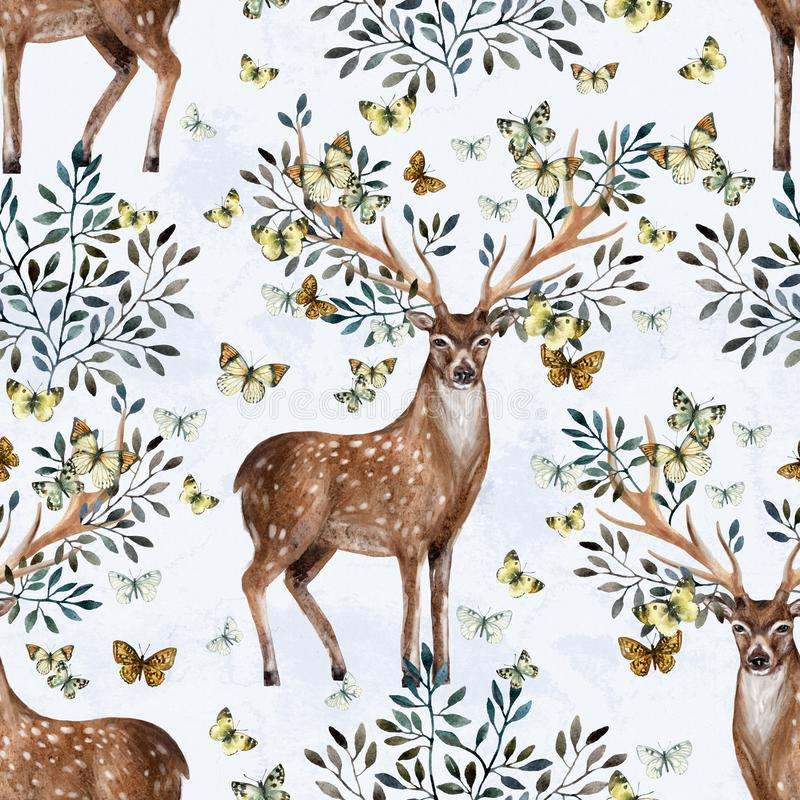Hand painted watercolor deer antlers with leafs, branches, butterfly on white background stock illustration