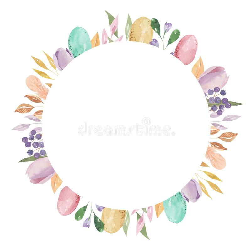 Easter Eggs Circle Frame Rectangle Watercolor Feather Pastel Spring Leaves Pink Floral. Hand Painted Watercolor Easter Eggs, floral arrangement Circle Frame royalty free illustration