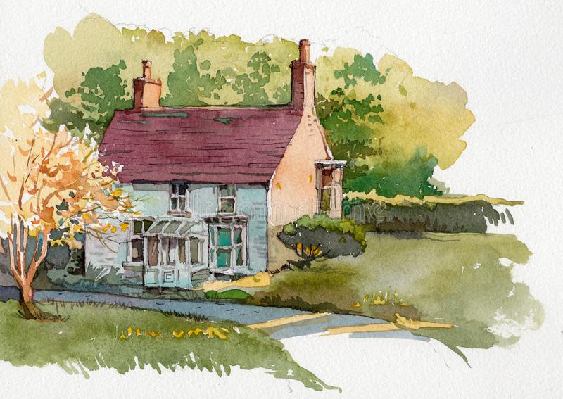 Watercolor illustration of English cottage. Hand painted watercolor English cottage stock illustration