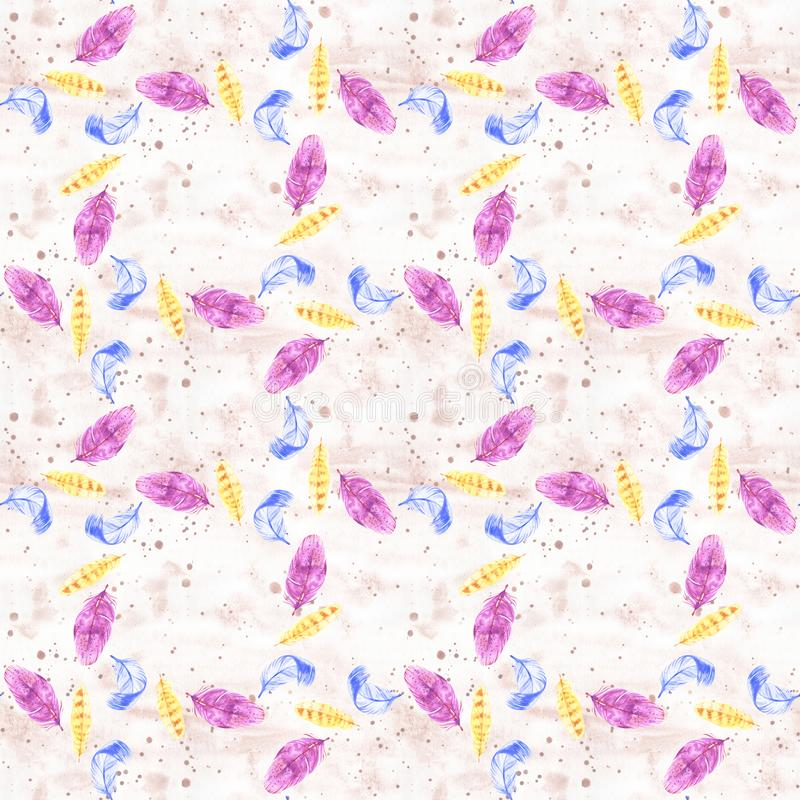 Hand painted watercolor feathers seamless pattern on white background. Textured pink boho decoration. Pastel ornament stock illustration