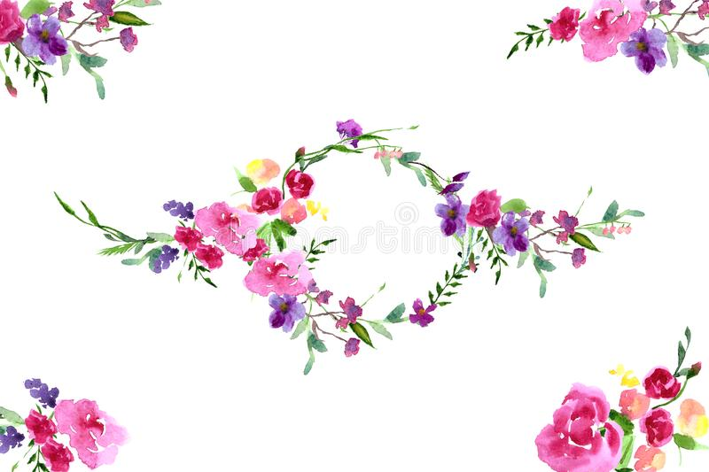 Hand-painted watercolor floral magnolia frame vector illustration