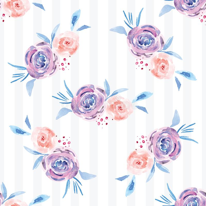 Hand-painted watercolor floral rose Pattern royalty free stock images
