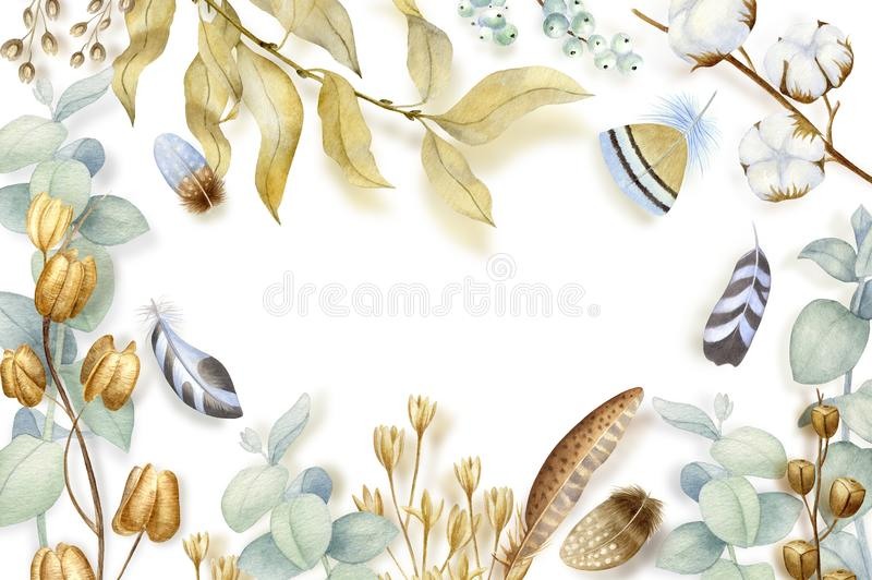 Hand painted watercolor flowers, dry seed pods, cotton and branches in bohemian style. Boho rustic natural elements for stock illustration