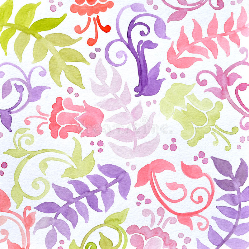 Download Hand Painted Watercolor Flowers Ferns Curls And Flourishes In Wallpaper Pattern Stock Illustration