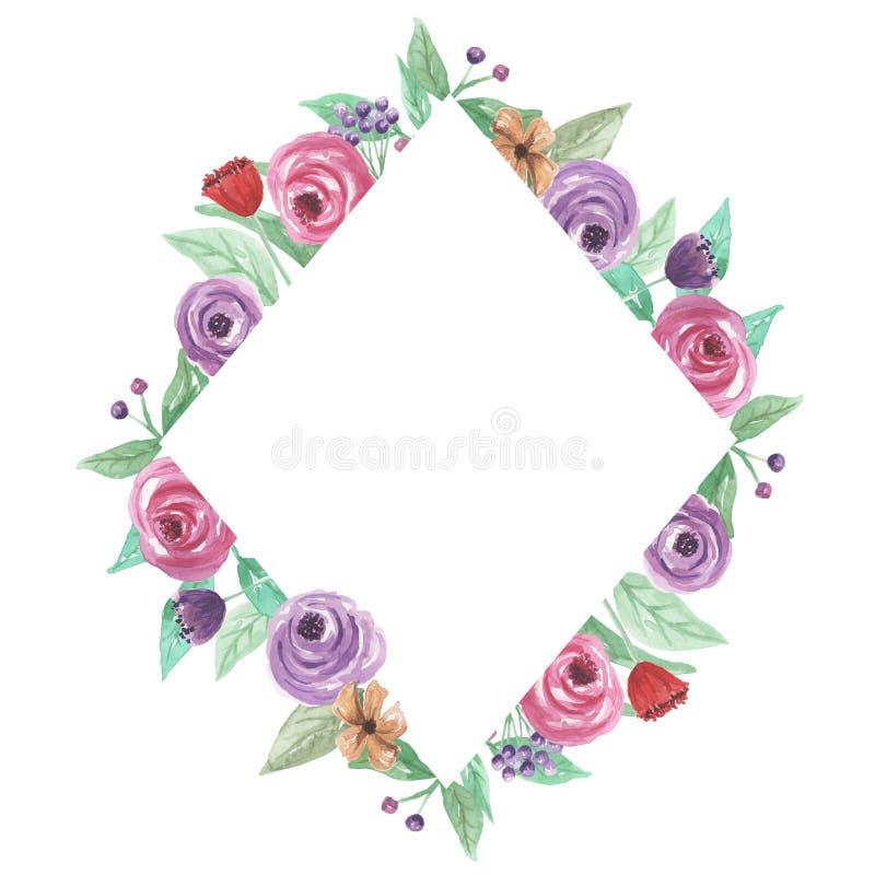 Watercolor Florals Diamond Frame Border Arrangement Pretty Wedding ...