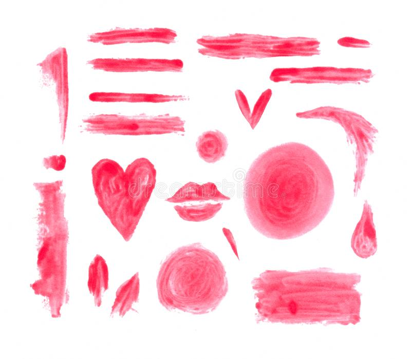 Hand painted watercolor graphic design elements. Smeared brush strokes. Lip stick stains. Hand painted watercolor graphic design element. Smeared brush strokes vector illustration