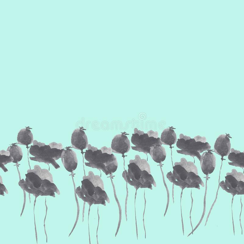 Watercolor graphite poppies background stock illustration