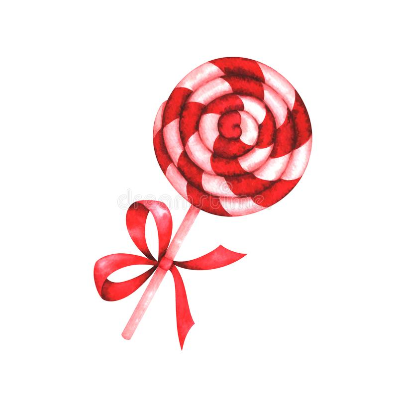 Watercolor illustration of Christmas lollipop stock illustration