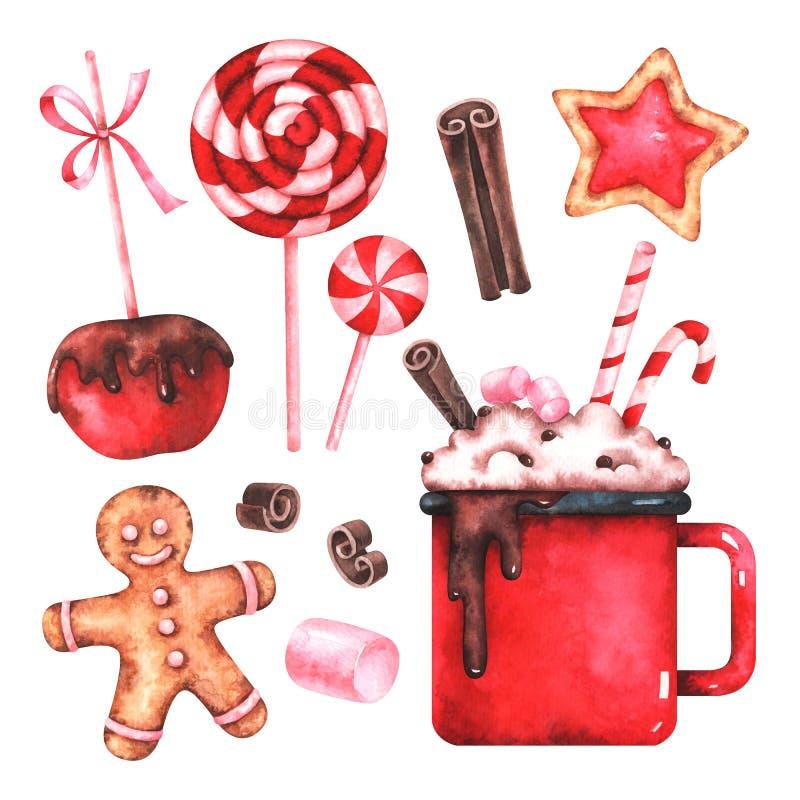 Watercolor Christmas sweets set vector illustration
