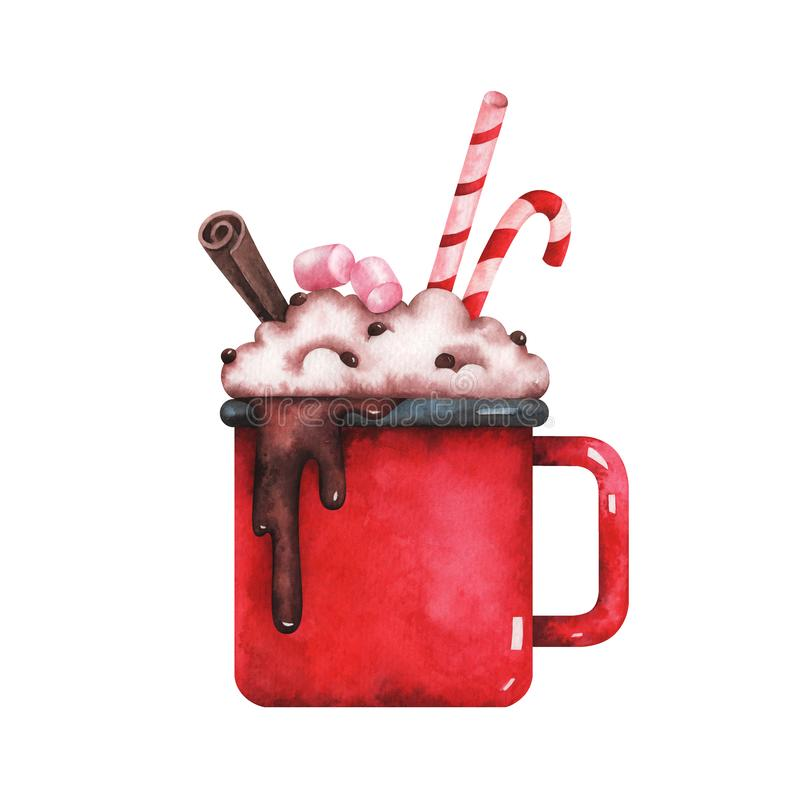 Watercolor illustration of christmas cup of hot chocolate royalty free illustration