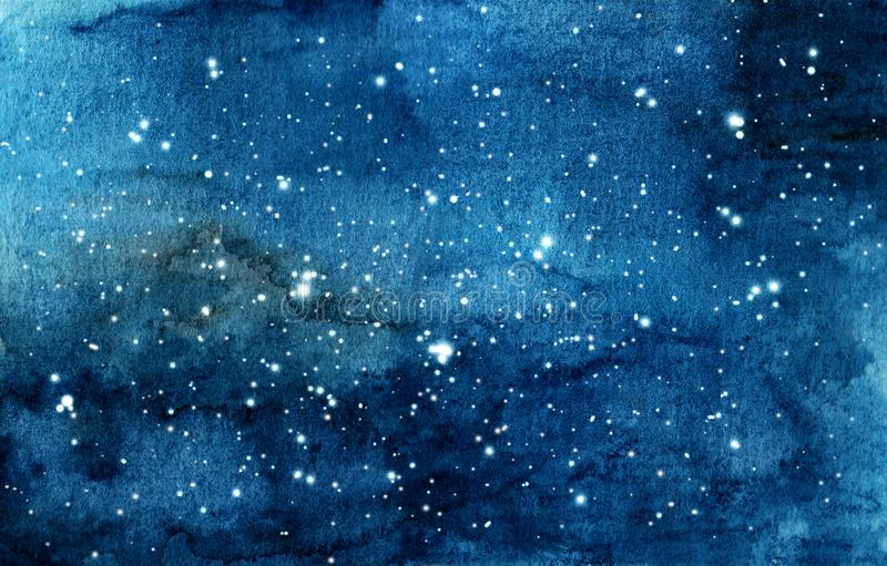 Hand painted watercolor illustration of night sky stock photos
