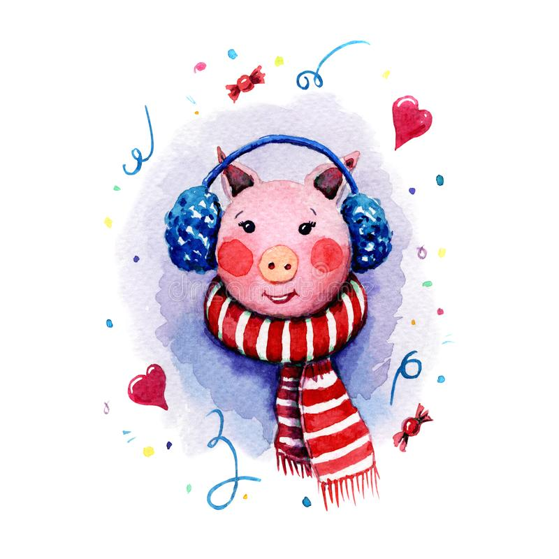Hand painted watercolor illustration of a pig girl who wearing scarf with red and white stripes blue fur headphones on royalty free stock photos