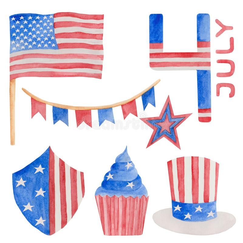 Watercolor illustration 4th of july independence day in USA stock illustration
