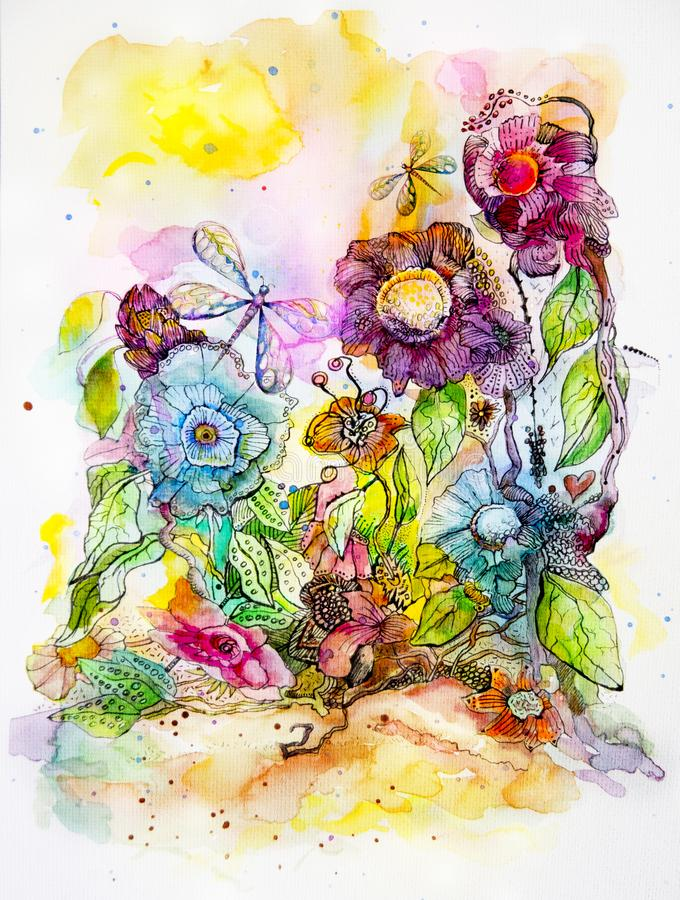 Hand painted watercolor and ink art garden royalty free stock photos