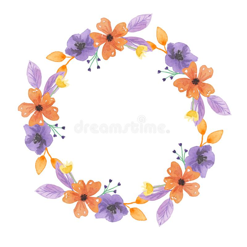 Download Watercolor Leaves Floral Border Flowers Wreath Orange And Purple Stock Illustration