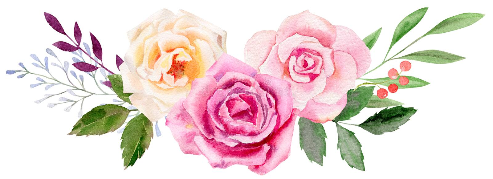 Hand painted watercolor mockup clipart template of roses vector illustration
