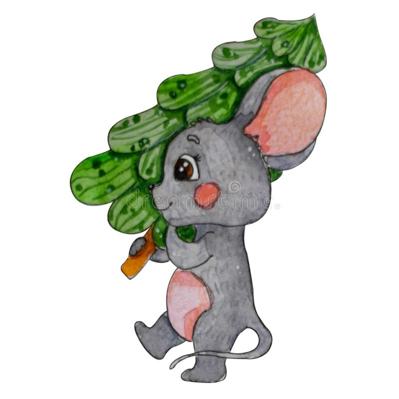 Hand painted watercolor mouse. Chinese Year of the mouse. royalty free illustration