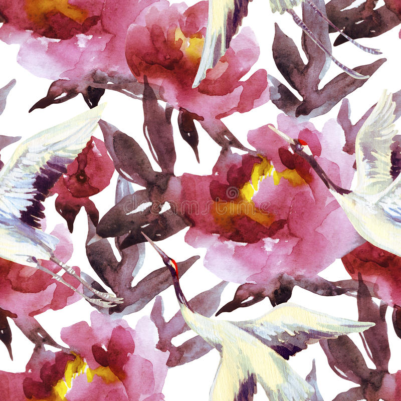 Hand painted watercolor peonies and crane birds stock illustration