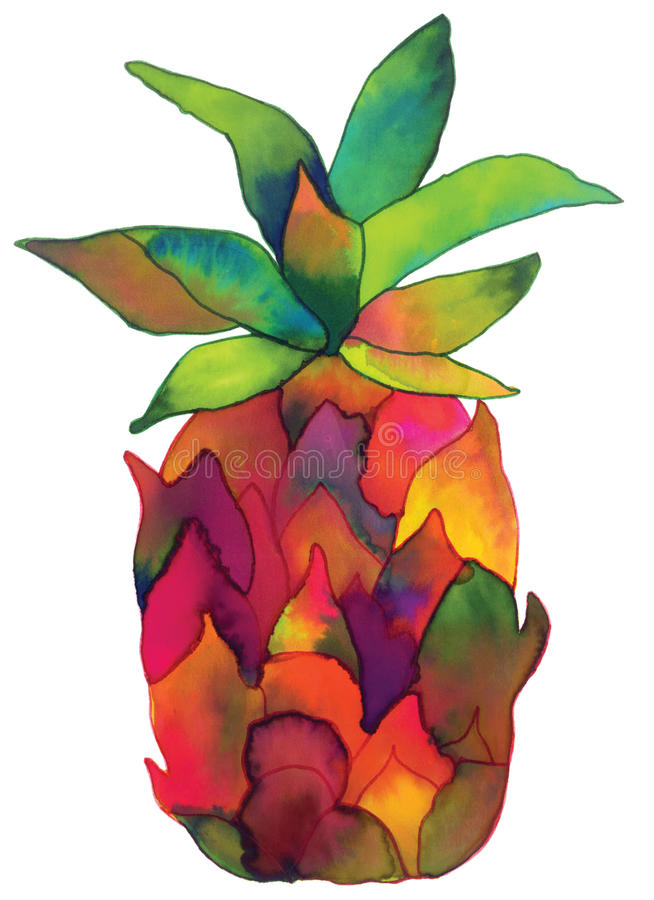 Hand Painted Watercolor Pineapple stock illustration