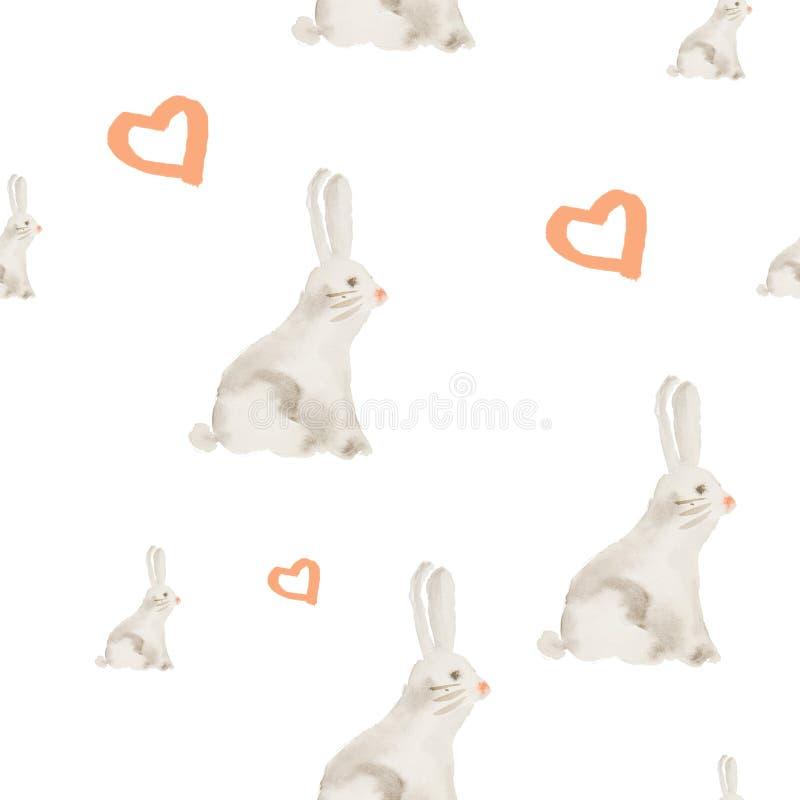 Hand painted watercolor rabbit pattern stock illustration