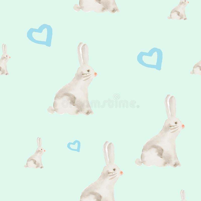 Hand painted watercolor rabbit pattern vector illustration