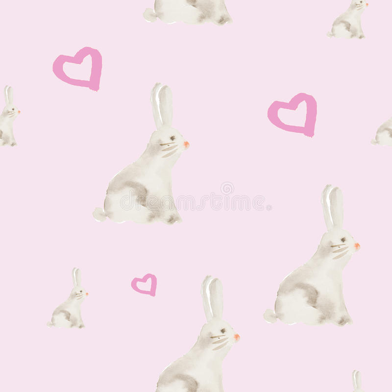 Hand painted watercolor rabbit pattern royalty free illustration