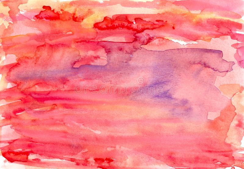 hand painted watercolor red orange pink background royalty free stock photo