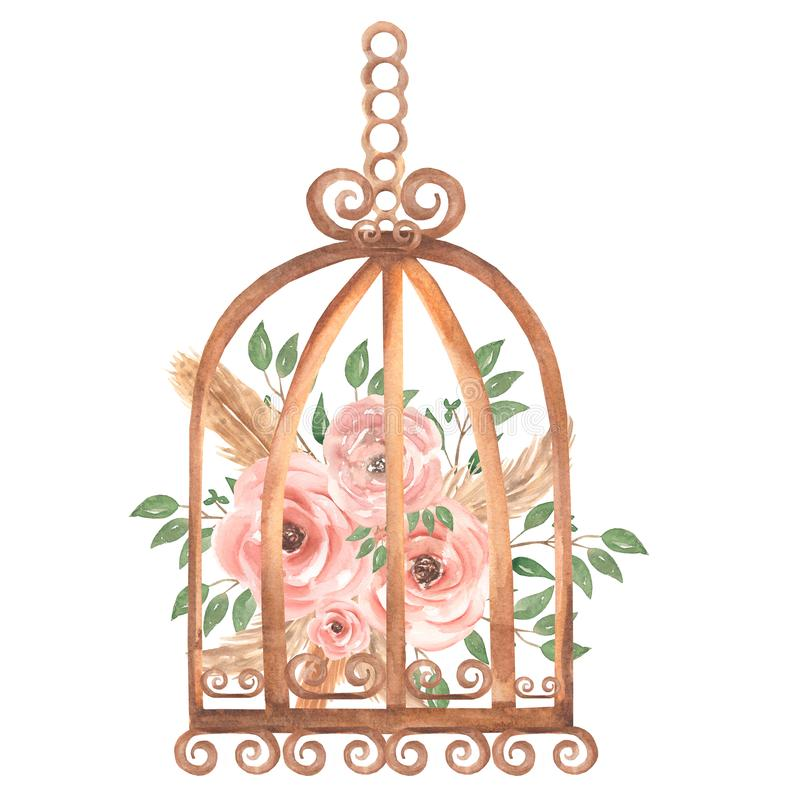 Free Hand Painted Watercolor Rusty Vintage Bird Cage With Dirty Pink Roses Flowers And Green Leaves Branch. Provence Style Illustration Royalty Free Stock Images - 165294899