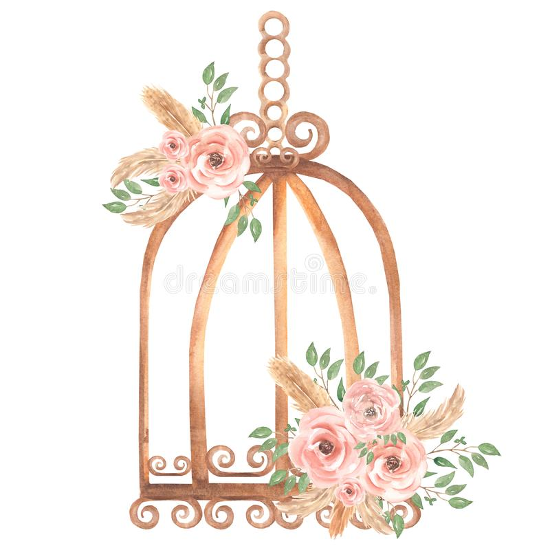 Free Hand Painted Watercolor Rusty Vintage Bird Cage With Dirty Pink Roses Flowers Bouquet And Green Leaves Branch. Provence Style Stock Photos - 165294903