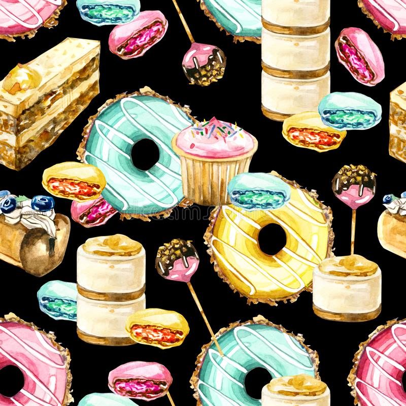 Watercolor seamless pattern sweets donats, candy, cupcake, desserts. Hand painted watercolor seamless pattern sweets donats, candy, cupcake, desserts - dark royalty free illustration