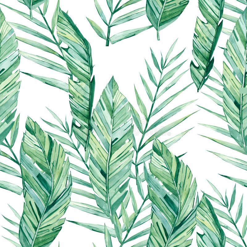 Watercolor seamless pattern tropical leaves stock illustration