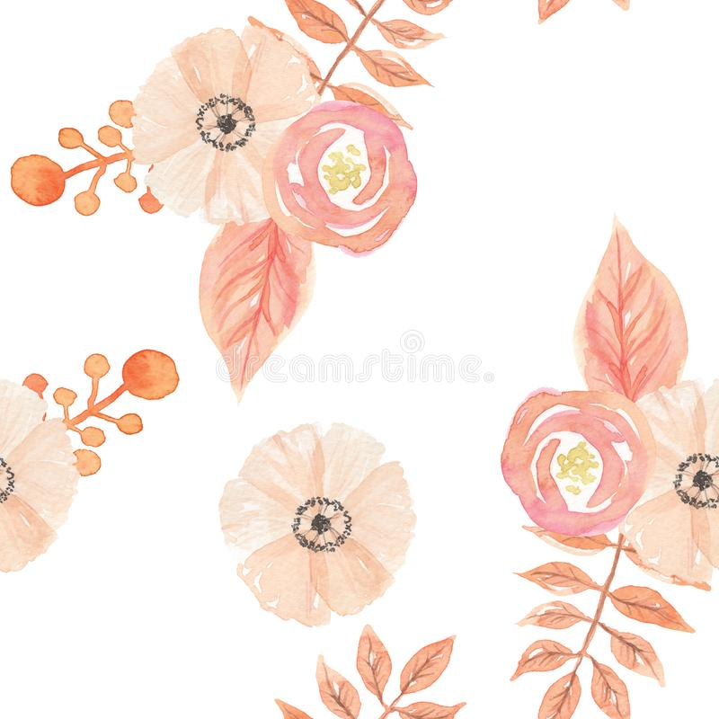 Watercolor Flowers Leaves Berries Painted Seamless Pattern Autumn Fall. Hand Painted Watercolor seamless patterns digital papers Autumn Fall Flowers, Berries and vector illustration