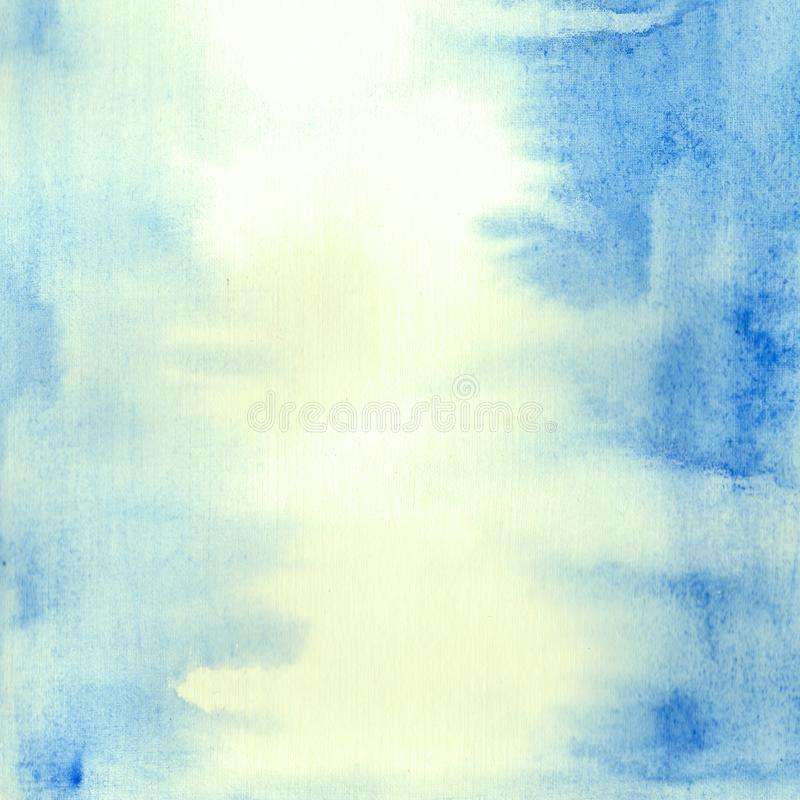 Hand painted  аbstract blue watercolor background. Hand painted watercolor sky and clouds, abstract watercolor background.Abstract blue watercolor background stock illustration