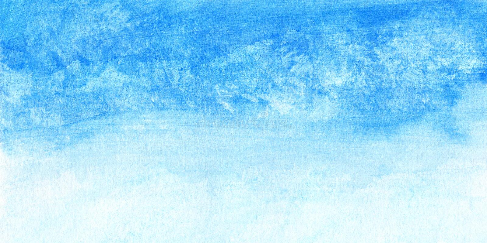 Hand painted watercolor sky and clouds, abstract watercolor background, scanned illustration stock illustration